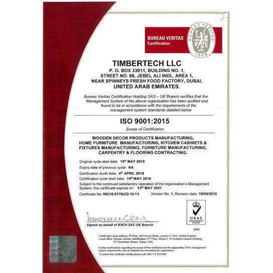 ISO Ceritificate - 9001-2015 TIMBERTECH LLC